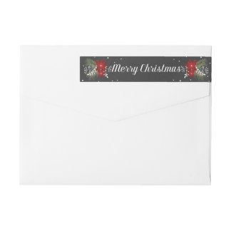 Chalkboard Merry Christmas Return Address Label Wraparound Return Address Label