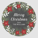 """Chalkboard Merry Christmas Sticker<br><div class=""""desc"""">Chalkboard Merry Christmas round sticker. Customizable. Part of a Christmas collection.</div>"""