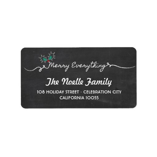 Chalkboard Merry Everything Mistletoe Holiday Personalized Address Label