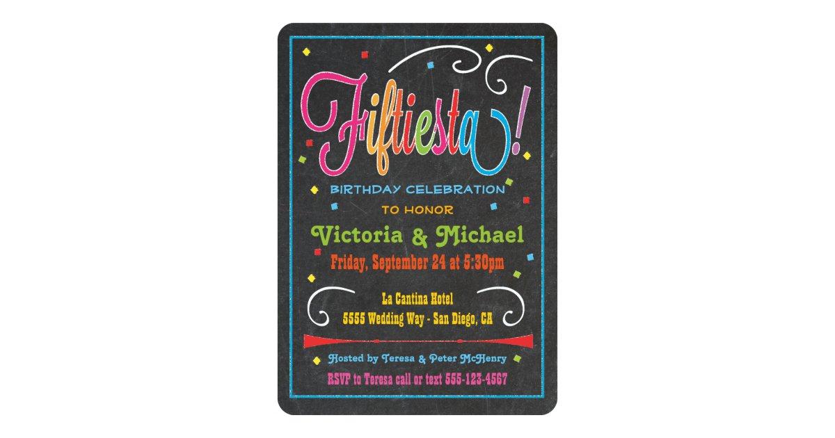 Chalkboard Mexican Fiesta 50th Party Invitation | Zazzle.com