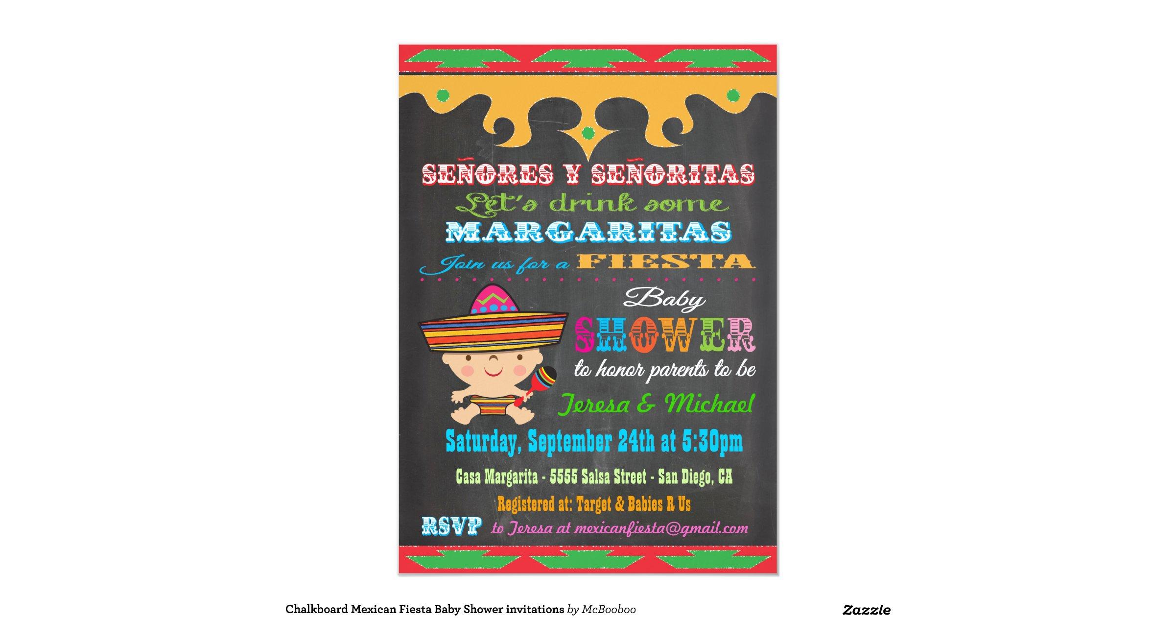Chalkboard mexican fiesta baby shower invitations - Fiesta baby shower ...