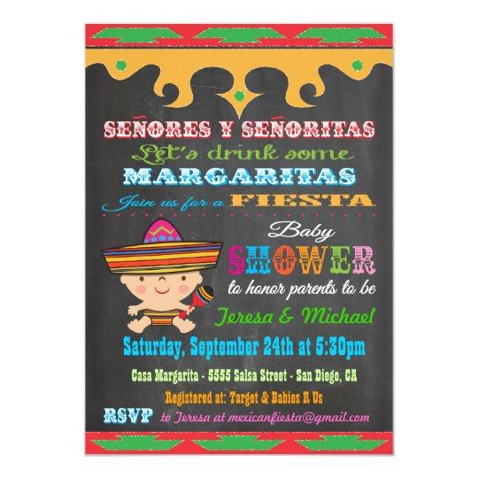 Chalkboard Mexican Fiesta Baby Shower Invitations