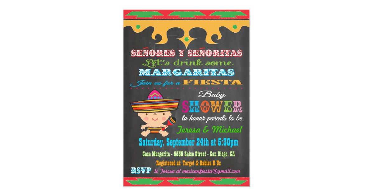 Chalkboard Mexican Fiesta Baby Shower invitations | Zazzle.com
