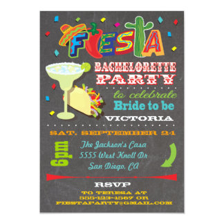 Chalkboard Mexican Fiesta Bachelorette Party Announcement