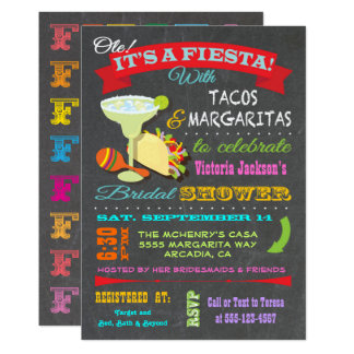 Chalkboard Mexican Fiesta Bridal Shower Card