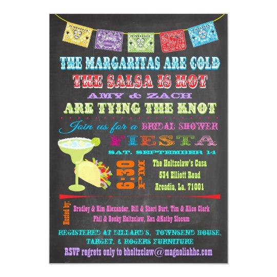 Chalkboard Mexican Fiesta Bridal Shower Invitation Zazzle Com