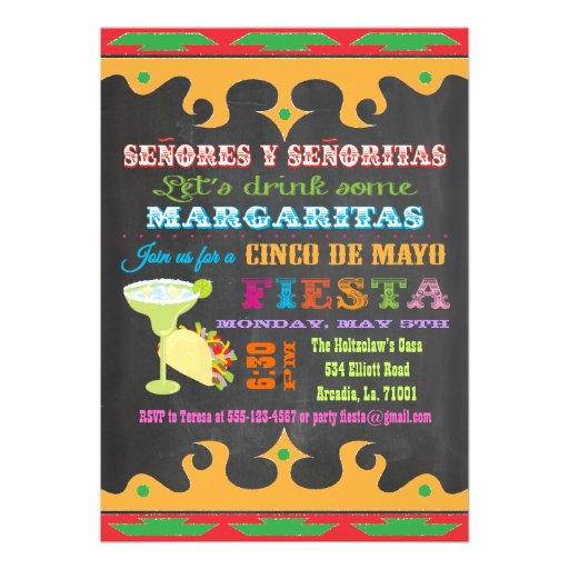 "Chalkboard Mexican Fiesta Cinco de Mayo Invitation 5"" X 7 ..."