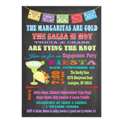 Chalkboard Mexican Fiesta Engagement Party Invitations