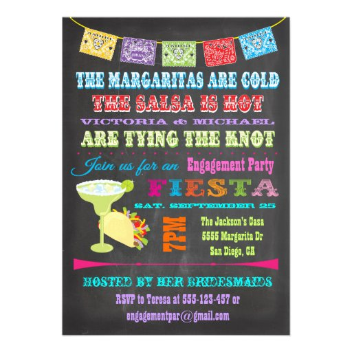 Chalkboard Mexican Fiesta Engagement Party Card