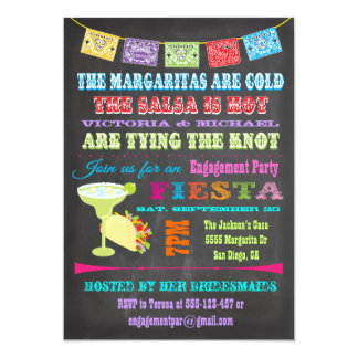 Chalkboard Mexican Fiesta Engagement Party 5x7 Paper Invitation Card
