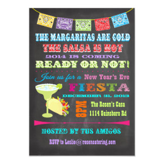 Chalkboard Mexican Fiesta New Year's Eve Party Cards