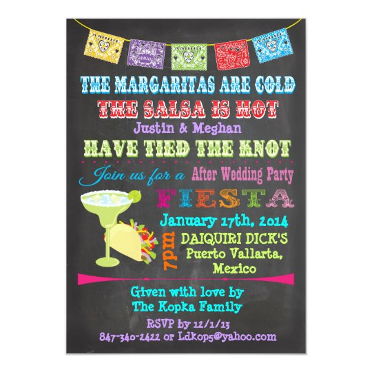 Chalkboard Mexican Fiesta Post Wedding Invites