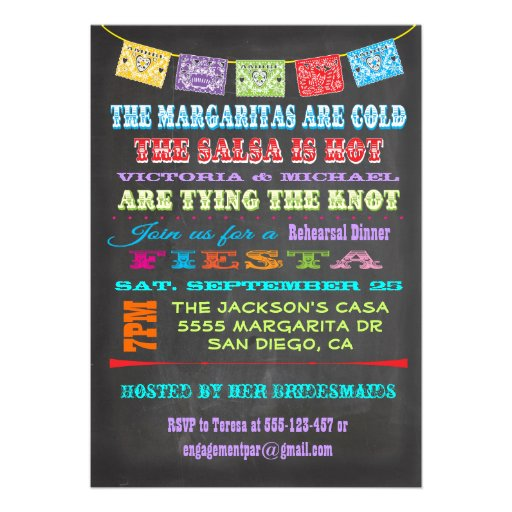 Chalkboard Mexican Fiesta Rehearsal Dinner Personalized Invites