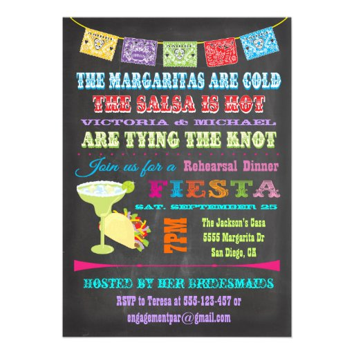 Chalkboard Mexican Fiesta Rehearsal Dinner Personalized Invite