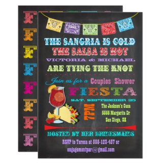 Chalkboard Mexican Fiesta Sangria Couples Shower Card