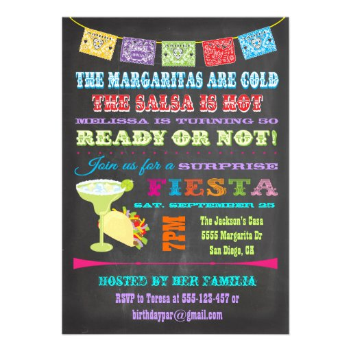 Chalkboard Mexican Fiesta Surprise Birthday Party Invites