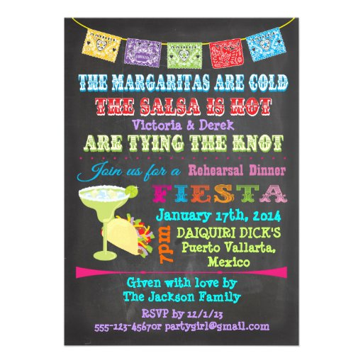 Chalkboard Mexican Fiesta with photo back Custom Announcements