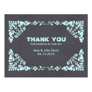 Chalkboard mint damask wedding thank you deco1 postcard