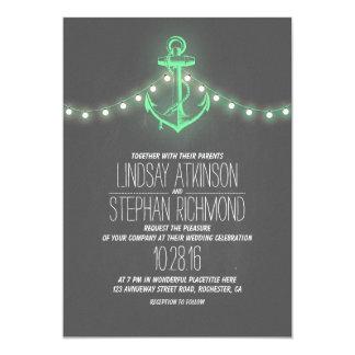 Chalkboard mint green anchor nautical wedding 5x7 paper invitation card