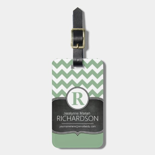 Chalkboard Mint Green Chevron Monogram Luggage Tags