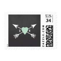 Chalkboard Mint Heart   Arrow Wedding Postage