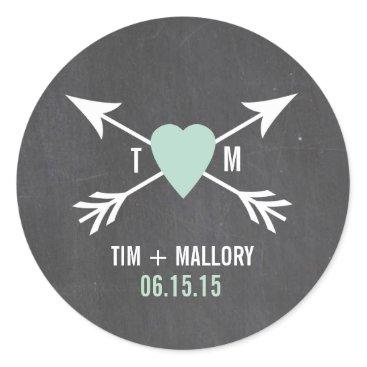 Valentines Themed Chalkboard Mint Heart   Arrow | Wedding Stickers