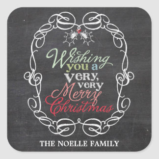 Chalkboard Mistletoes Christmas Holiday Gift Tag Square Sticker
