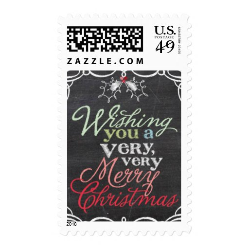 Chalkboard Mistletoes Christmas Holiday Stamps