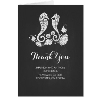 chalkboard modern beach wedding thank you cards