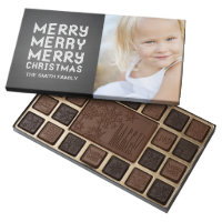 CHALKBOARD MODERN MERRY CHRISTMAS HOLIDAY PHOTO 45 PIECE BOX OF CHOCOLATES