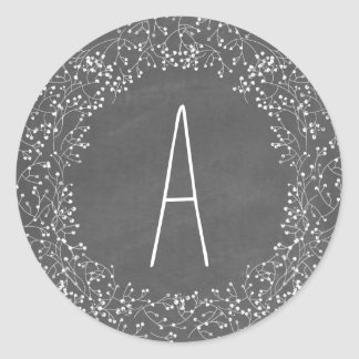 Chalkboard Monogram Baby's Breath Wedding Classic Round Sticker