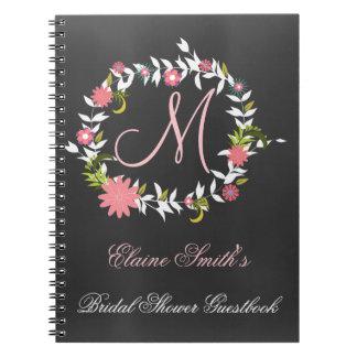 Chalkboard Monogram Bridal shower Guestbook Notebook