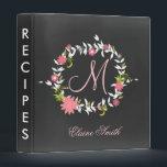 "Chalkboard Monogram Bridal shower Recipe Folder<br><div class=""desc"">Chalkboard Monogram Pink Coral Floral Wreath Bridal shower Recipe Folder</div>"