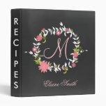 Chalkboard Monogram Bridal shower Recipe Folder Binder
