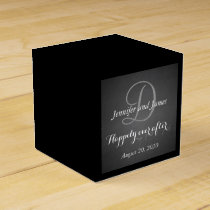 Chalkboard Monogram Happily Ever After Favor Box