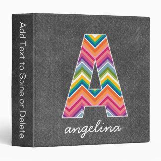 Chalkboard Monogram Letter A with Bright Chevrons 3 Ring Binders