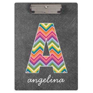 Chalkboard Monogram Letter A with Bright Chevrons Clipboards