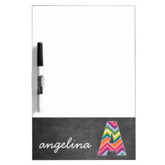 Chalkboard Monogram Letter A with Bright Chevrons Dry-Erase Board