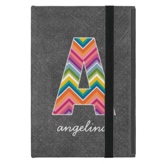 Chalkboard Monogram Letter A with Bright Chevrons iPad Mini Cover