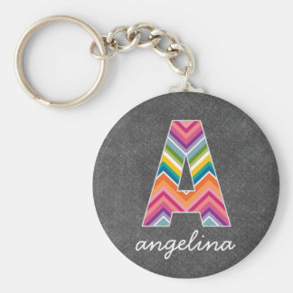Chalkboard Monogram Letter A with Bright Chevrons Keychain