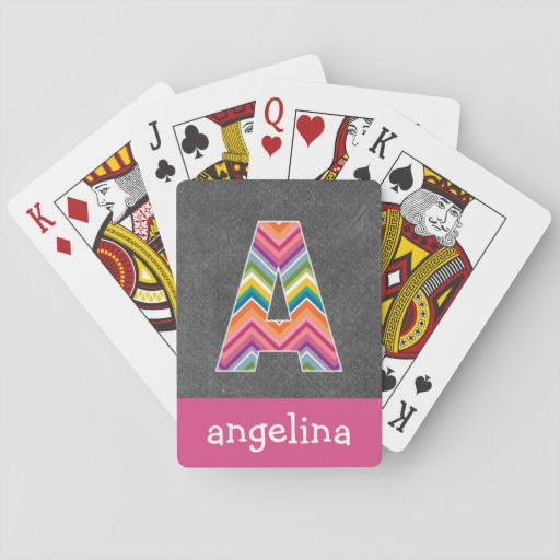 Chalkboard Monogram Letter A with Bright Chevrons Poker Deck