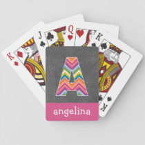 Chalkboard Monogram Letter A with Bright Chevrons Playing Cards