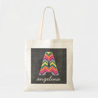 Chalkboard Monogram Letter A with Bright Chevrons Tote Bag