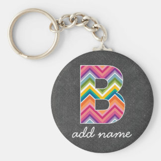 Chalkboard Monogram Letter B with Bright Chevrons Keychain
