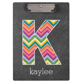 Chalkboard Monogram Letter K with Bright Chevrons Clipboard