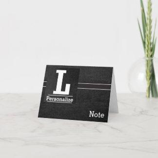 Chalkboard Monogram Letter L Note Card