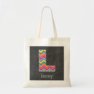 Chalkboard Monogram Letter L with Bright Chevrons Tote Bags