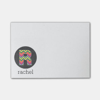 Chalkboard Monogram Letter R with Bright Chevrons Post-it® Notes