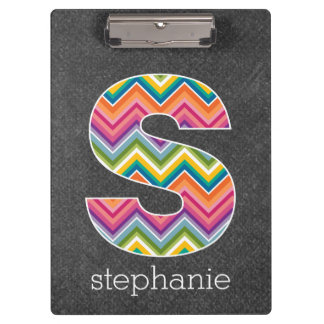 Chalkboard Monogram Letter S with Bright Chevrons Clipboard