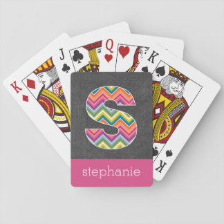 Chalkboard Monogram Letter S with Bright Chevrons Playing Cards